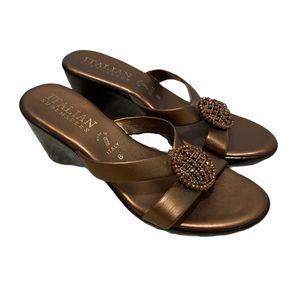 Italian shoemakers bronze rhinestone wedge